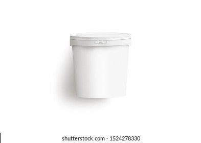 Blank white ice cream bucket mockup lying isolated, 3d rendering. Empty cold summer sorbet mock up. Clear creamy sundae or yogurt in plastic can mokcup template.