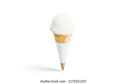 Blank white ice cream cone mockup, front view, 3d rendering. Empty creamy gelato pack mock up, isolated. Clear wafle cornet wrap template. Icecream packaging label design.