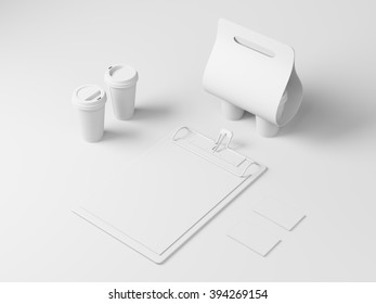 Blank white identity elements for restaurant