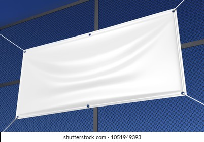 Blank White Indoor outdoor Fabric & Scrim Vinyl Banner hanging on the fence for print design presentation. 3d render illustration.