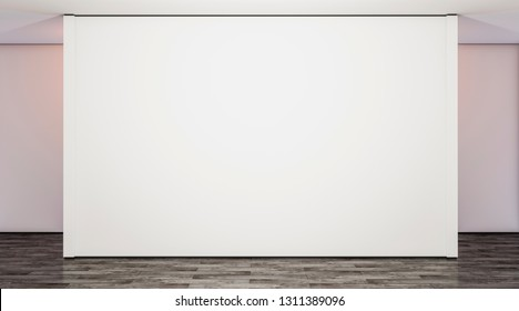 Blank white large gallery wall in studio mock up, 3d rendering. Empty modern lobby with exibition wal mockup. Clear presentation room. Wide poster on floor template.