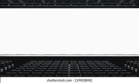 Blank white large screen in presentation hall mockup, front view, 3d rendering. Empty display for cimena or business conference mock up. Scene for event with auditorium. Meeting room template.