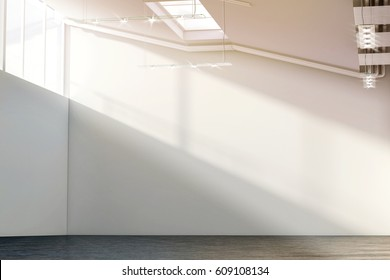 Blank white large wall mockup in sunny modern gallery, 3d rendering. Clear big loft mock up in museum with contemporary art exhibition. Huge hall interior with plain surface for exposition template.
