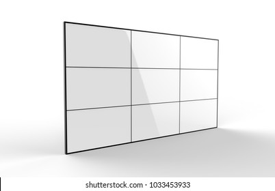 Blank White LCD display multi screen video wall. 3d render illustration.