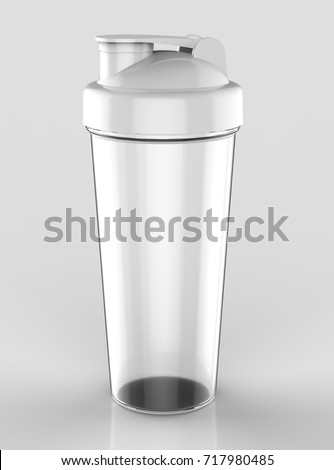 blank white lid with transparent plastic shaker bottle for mock up and template design 3d