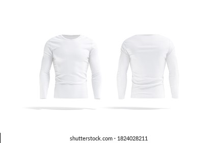 Blank white longsleeve t-shirt mockup, front and back view, 3d rendering. Empty sweatshirt model with long sleeve mock up, isolated. Clear clothe sport tee-shirt neckline template.