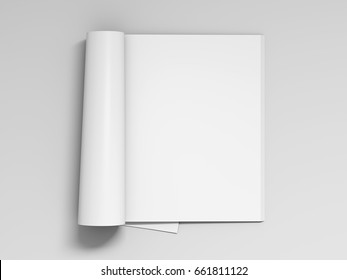 Blank white magazine pages with glossy paper isolated on white background include clipping path around magazine. 3d illustration