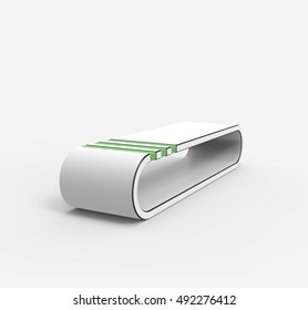 Blank White Mall Bench, isolated on white background. Mockup For Your Design. 3D illustration