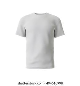 Blank White Mens Or Male T Shirt Design Template 3D Rendering