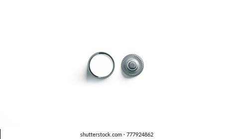 Blank white metal snap button mockup isolated, 3d rendering. Empty clothing jeans clasp mock up, front and back side view. Clear metallic fastener for dressmaking and cloth branding design.