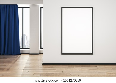 Blank white mock up poster on white wall in modern living room with wooden floor and blue curtain. 3D Rendering