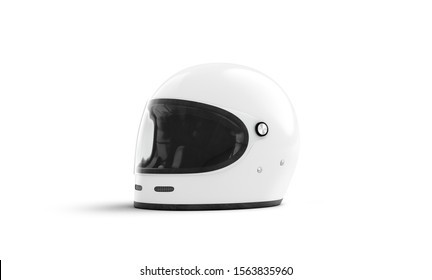 Blank white motorcycle helmet with glass mockup isolated, 3d rendering. Empty safety full face helm for motocross mock up, half-turned view. Clear hard hat for extreme speed on race mokcup template.