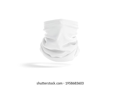 Blank white neck gaiter mockup, front view, no gravity, 3d rendering. Empty protection face mask or balaclava mock up, isolated. Clear fabric or fleece scarf tube for dust proof template.