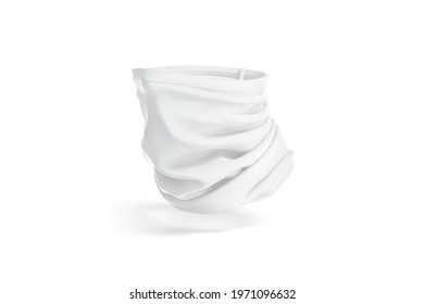 blank white neck gaiter mockup, half-turned view, no gravity, 3d rendering. Empty protective windproof face mask mock up, isolated. Clear dust proof tube cover for sport template.