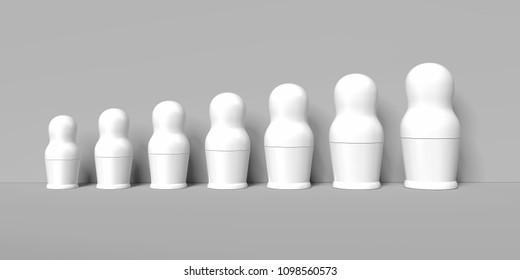 Blank white nesting dolls mockups, russian matryoshka on grey background, 3d rendering. Empty matrioshka toys mock up, traditional souvenir, national matreshka design template. 3d rendering.