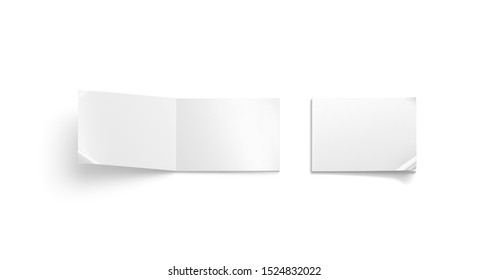 Blank white opened and closed a5 magazine mock up, isolated, 3d rendering. Empty wide album cover mockup, top view. Clear notebook or sketchbook display mokcup template.