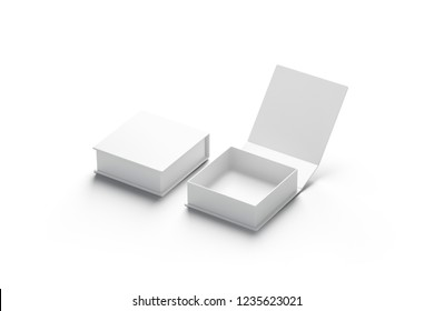 Blank white opened and closed gift box mockup set, isolated, side view, 3d rendering. Empty surprise package mock up. Clear square container for compliment. Two festive open and close present.