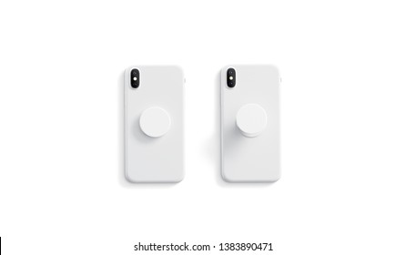 Blank white opened and closed phone pop socket mock up on smartphone lying isolated, top view, 3d rendering. Empty popsocket holder for gadget mock up. Clear stand attach grip on the back of mobile.