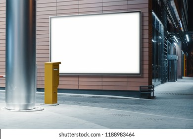 Blank white outdoor banner at modern building wooden wall at night time, mock up. 3d rendering.