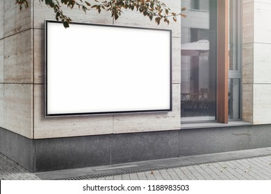 Blank white outdoor horizontal banner at bright modern building wall, mock up. 3d rendering.