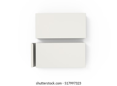 Blank White Package Box for Pills, Medicine Isolated on Background. Top View. Mockup. 3D Illustration