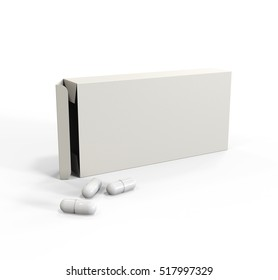 Blank White Package Box for Pills, Medicine Isolated on Background. Mockup. 3D Illustration