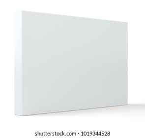 Blank white package paper cardboard box. Isolated on white background with soft shadow. 3d illustration