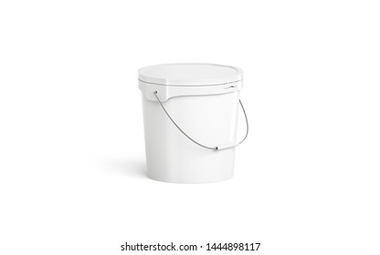 Blank white paint pail with handgrip mockup isolated, half front view. 3d rendering. Clean fishing storage with round grip mock-up. Empty big bucket with ice cream and chicken wings template.