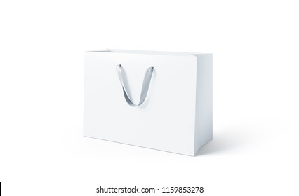 Blank white paper bag with silk handle mock up, isolated, 3d rendering. Beautiful craft plastic package mockup. Empty gift carry pack template. Shopping packet mock-up.