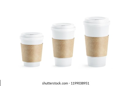 Blank white paper cup with craft sleeve holder mockup set, isolated, 3d rendering. Empty disposable container with clutches for coffee or tea mock up. Clear drink pack with zarfs different size.