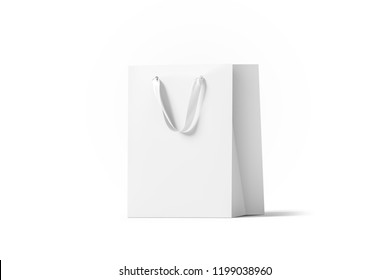 Blank white paper gift bag with silk handle mockup, isolated, 3d rendering. Empty shopping plastic pack mock up. Clear beautiful package template. Carry craft bagful for for present, side view.