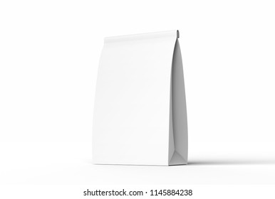 Blank white paper lunch bag in 3d rendering