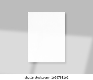 Blank white paper mockup with shadow Overlay. Mockup scene. Photo mockup with clipping path.