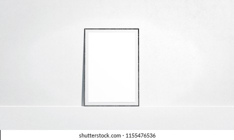 Blank white paper poster mock up stand at gallery wall, front view, isolated, 3d rendering. Empty placard with frame in museum mockup. Clear photo art cadre template