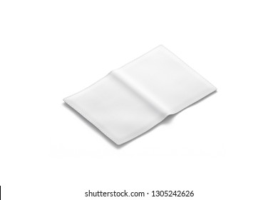 Blank white passport cover mockup, back side view, isolated, 3d rendering. Empty leather covering mock up. Clear opened pass for legal tourism. Citizen case or pocketbook template.