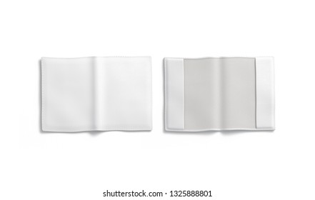 Blank white passport cover mockup, front and back, isolated, 3d rendering. Empty document case mock up, top view. Clear leather envelope template.