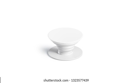 Blank white phone pop socket mock up, isolated, 3d rendering. Empty popsocket smartphone round holder mockup, front view. Clear adhesive grip for mobile stand. Small plastic pad template.