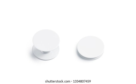 Blank white phone pop socket mock up, isolated, top view, 3d rendering. Empty folded and unfolded mobile accessory mockup. Clear adhesive cellphone button for company branding template.
