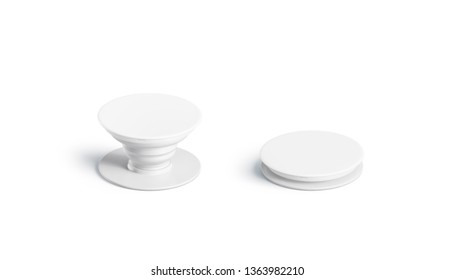 Blank white phone pop socket mock up, isolated, side view, 3d rendering. Empty folded and unfolded case accessory mockup. Clear attach grip for smartphone template.