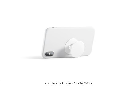 Blank white phone pop socket sticked on mobile mockup, isolated, side view, 3d rendering. Empty popsocket round holder for smartphone mock up. Clear stand attach grip on the back of mobile.