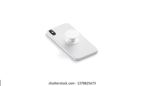 Blank white phone pop socket sticked on mobile mock up, lying isolated, side view, 3d rendering. Empty popsocket round holder for smartphone mock up. Clear stand attach grip on the back of mobile.