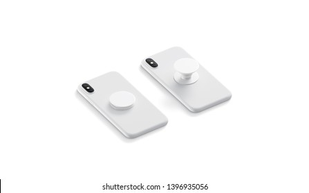 Blank white phone pop sockets sticked on smartphones mockups, lying isolated, side view, 3d rendering. Empty popsocket round holder opened and closed for phone mock up. Clear attached grip on mobile.