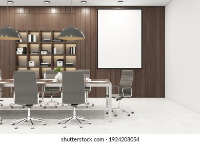 Blank white picture frame in modern meeting room with wooden decoration interior design and marble floor. Mock up. 3D rendering