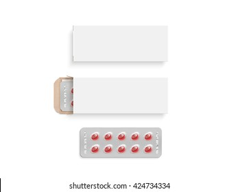 Blank white pill box design mockup set, isolated, 3d illustration. Clear blister pillbox template mock up. Open and close red tablets cardboard container. Blister pill boxing with drug colored capsule