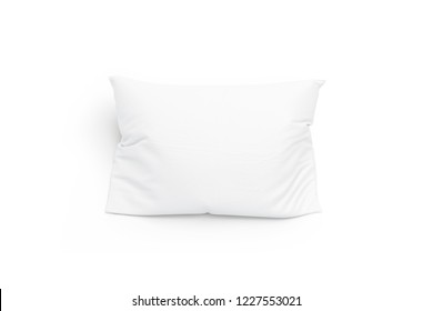Blank white pillow mockup, isolated, top view, 3d rendering. Empty bedding pad mock up. Clear comfort pilow for sleep template. Soft cushion in cloth for home or hotel.