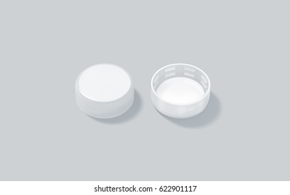 Blank white plastic bottle caps mockup set isolated, front and back side view, 3d rendering. Empty mineral water or fizzy pop lids mock ups.