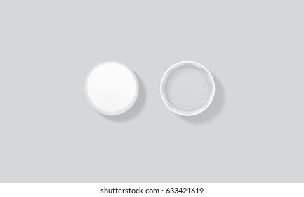 Blank white plastic bottle caps mock up set isolated, top side view, 3d rendering. Empty mineral water lids mockups. Fizzy pop circle clear cover design template. Soda drink element