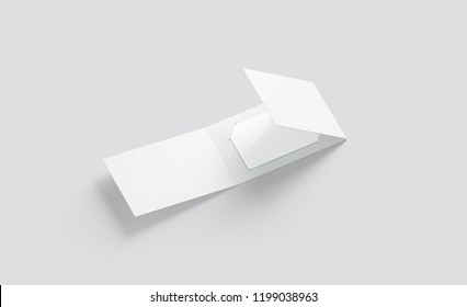 Blank white plastic card mock up inside opened paper booklet holder, 3d rendering. Empty ajar brochure with gift card mockup, side view. Clear loyalty program in handmade envelope template.