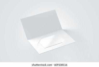Blank white plastic card mockup inside paper booklet holder, 3d rendering. Clear loyalty program folded brochure with certificate mock up. Customer loyal booklet envelope template.