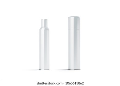 Blank white plastic closed hairspray bottle mockups, 3d rendering. Empty deodorant aerosol mock up isolated. Clear stainless spray for body container template